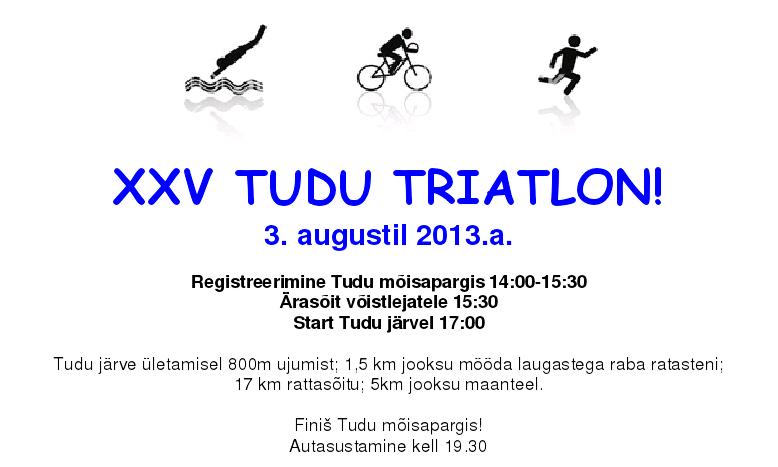 Laupäeval algavatel Tudu päevadel toimub 25. Tudu triatlon