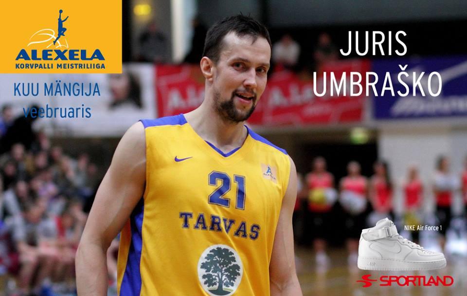 Alexela KMLi veebruari parim mängija on Juris Umbraško