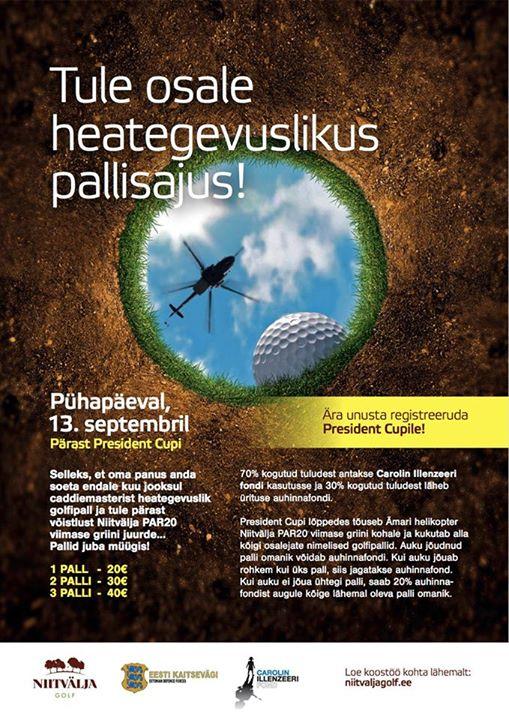 Soeta heategevuslik golfipall ning vaata, kas Sinu pall suudab võita lähim lipule võistluse helikopterilt2