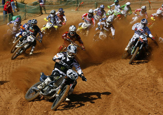 Yamaha's rider David Philippaerts of Italy leads a pack in the Portugal Motocross MX1 Grand Prix